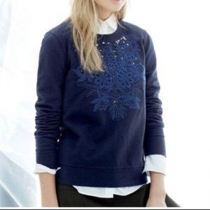 J. Crew Floral Cutout Embroidered Navy Sweatshirt